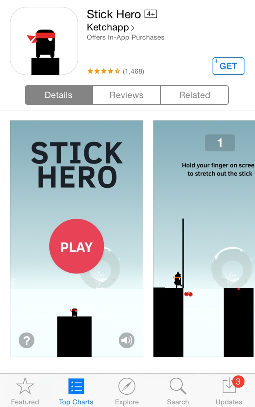 Stick Hero iOS app with the