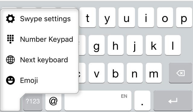 Selecting a custom keyboard