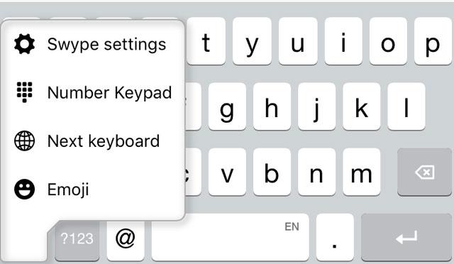 Selecting a custom keyboard