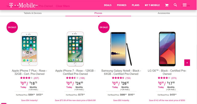 T-Mobile Pre-Owned Phones
