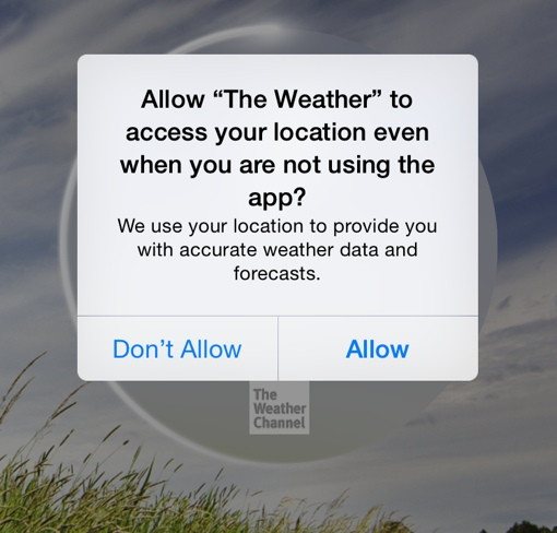 The Weather Channel app requesting permission
