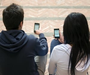 Two people texting