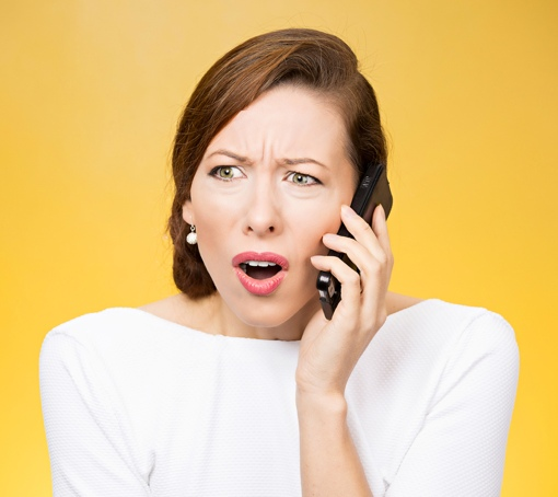 Woman upset at telemarketer