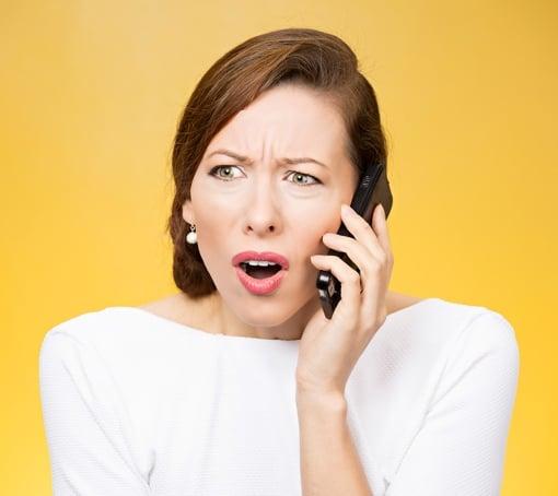 Woman upset at telemarketer