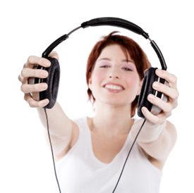 woman offering headphones