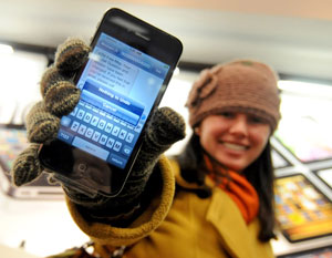 woman showing text message