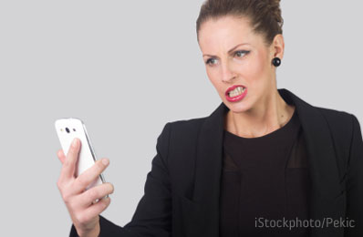 Woman upset with phone