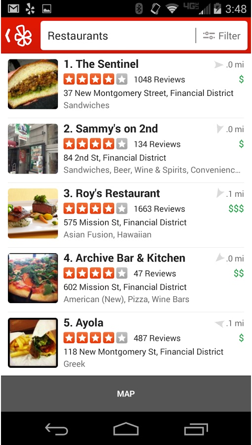 Yelp Android Screenshot