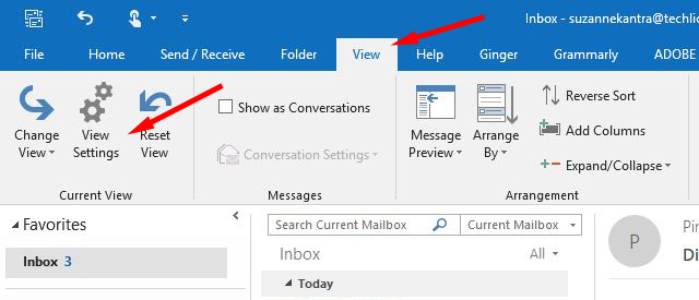 Outlook View tab