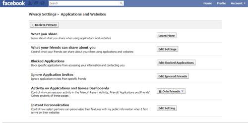 Facebook instant personalization