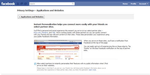 Facebook select partners checkbox