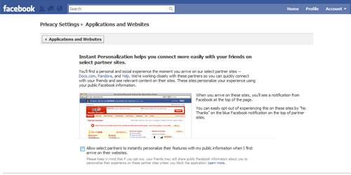 Facebook select partners checkbox