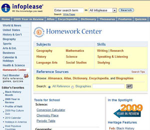 Infoplease: Homework Center