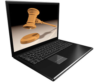laptop showing auction gavel
