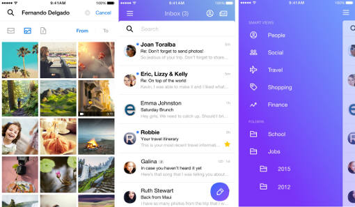 Screenshots of new Yahoo Mail app